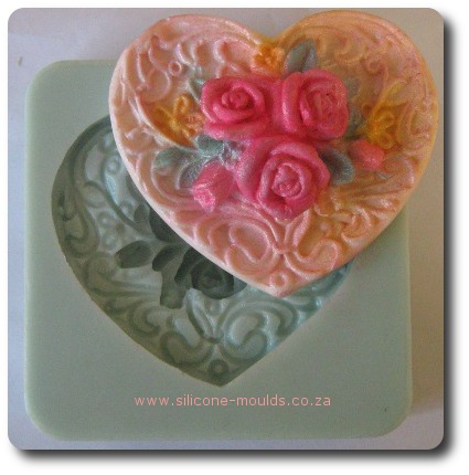 Heart Rose Bunch Plaque-sil